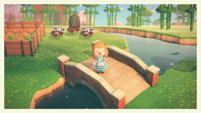 Dieses Bild zeigt die fertige Backsteinbrücke in Animal Crossing: New Horizons.