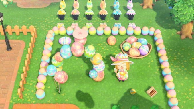 """Dieses Bild zeigt einen Teil aller Items vom Oster-Event in """"Animal Crossing: New Horizons""""."""