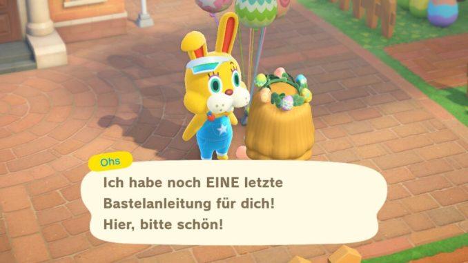 """Dieses Bild zeigt die Übergabe der Belohnung vom Oster-Event in """"Animal Crossing: New Horizons""""."""