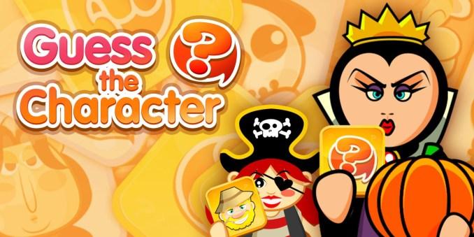 Das Bild zeigt den Schriftzug von Guess The Charakter. Man sieht eine böse Königin, welche einen Kürbis und eine Karte in der Hand hält. Die Karte ist gelb.