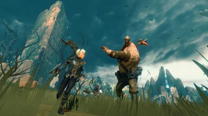 """Das Bild zeigt eine Kampfszene aus """"Decay of Logos"""". Ein Ogar attackiert die Protagonistin mit seiner Keule."""