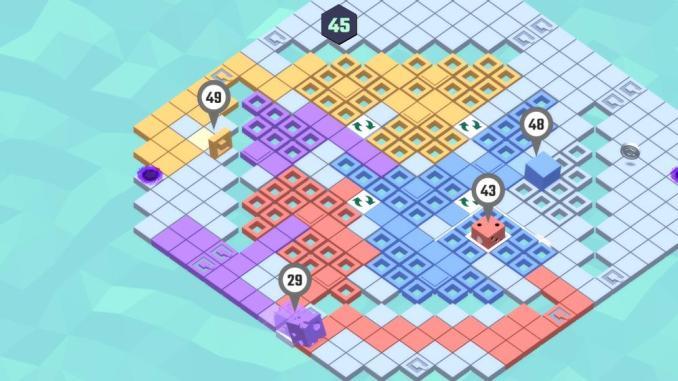 """Das Bild zeigt eine Ebene in """"Gerritory"""". Es handelt sich um ein Action-Party-Spiel, in welchem bis zu viel Spieler Kacheln auf einem Feld einfärben."""