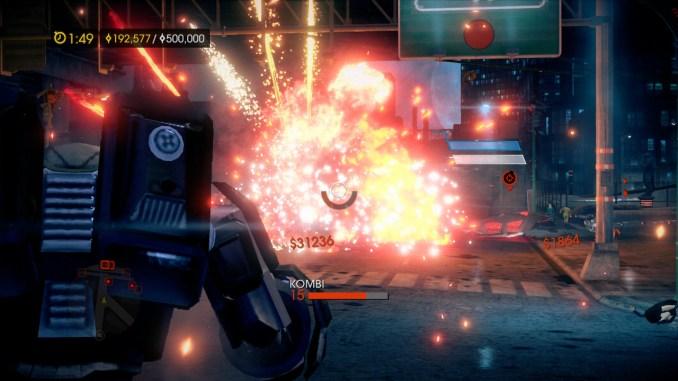 Das Bild zeigt den Spieler in einem Mech-Anzug. Im Hintergrund ist eine Explosion zu sehen.