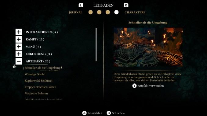 """Das Bild zeigt den Leitfaden, welcher grundlegende Spielinformationen bereithält. Geöffnet ist hier der Menüpunkt """"Artefakte""""."""