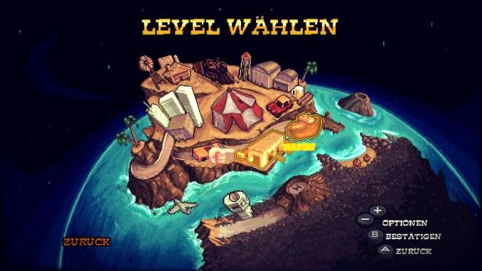 Das Bild zeigt das Levelmenü, welches uns auch den Spielfortschritt ausweist.