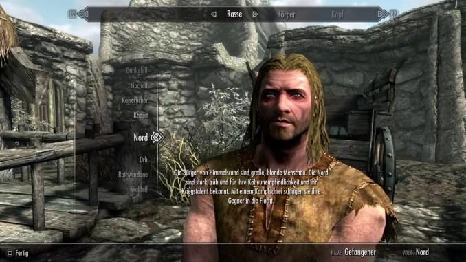 © SimoTV Das Bild zeigt einen vorgefertigten Charakter aus dem Skyrim-Charakter-Editor