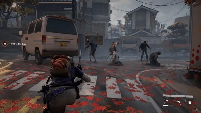 World War Z – Ein Spieler schleicht sich an einer Menge Zombies vorbei
