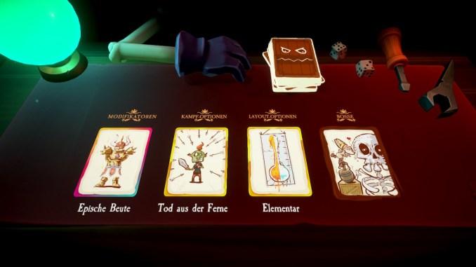 Am Anfang der Runde entscheiden die Karten, wie die kommenden Dungeons aussehen und welche Gefahren dort auf euch lauern werden.