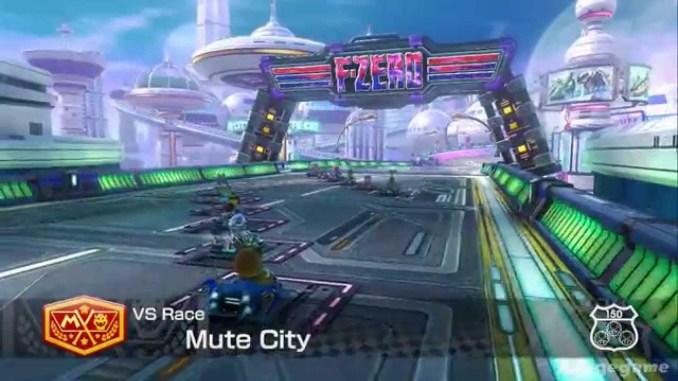 """Das Bild zeigt die F-Zero-Strecke aus """"Mario Kart 8"""", welche vom Design Ähnlichkeiten mit dem Racer """"Fast RMX"""" aufzeigt."""