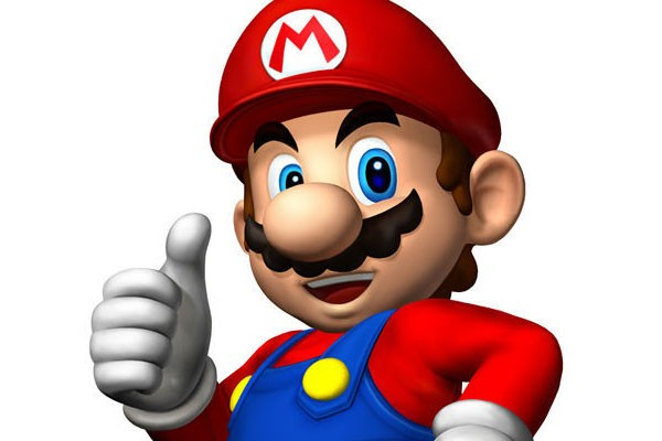 Auf dem Bild ist ein lachender Mario mit Daumen hoch zu sehen. Er will damit sagen die Switch ist keine Reste-Rampe.