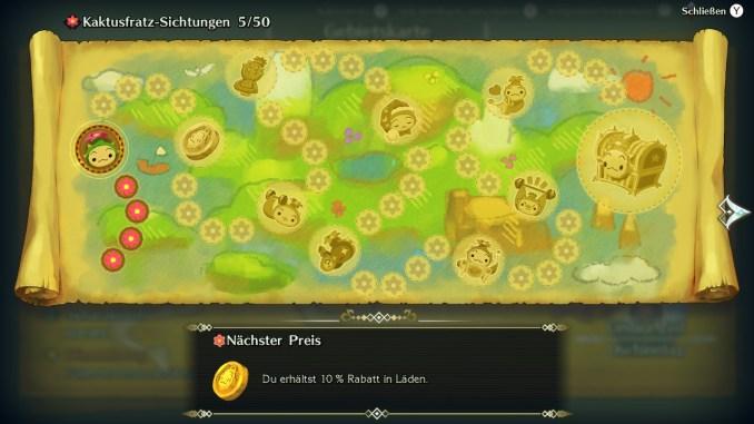 """Das Bild zeigt eine Übersicht der Kaktusfratz-Sichtungen samt der einhergehenden Preise aus """"Trials of Mana""""."""