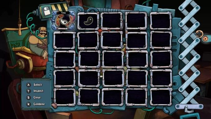 Das Bild zeigt Rufus' Inventar. Darin befinden sich zwei Gegenstände.