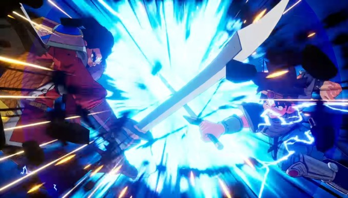 """Das Bild zeigt eine animierte Kampfszene aus """"Infinity Strash – Dragon Quest: The Adventure of Dai""""."""