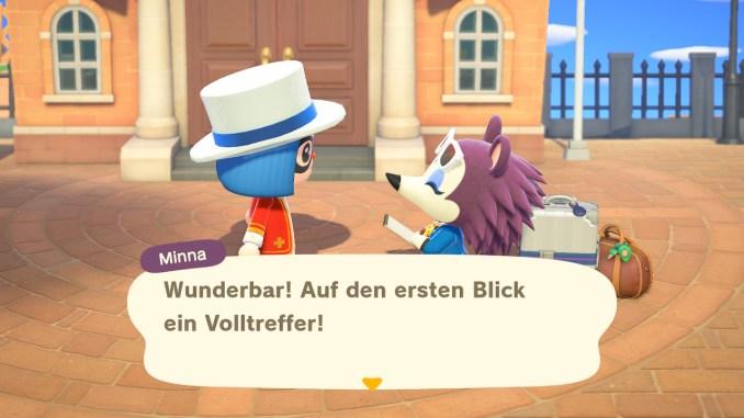 "Das Bild zeigt Minna in ""Animal Crossing: New Horizons""."