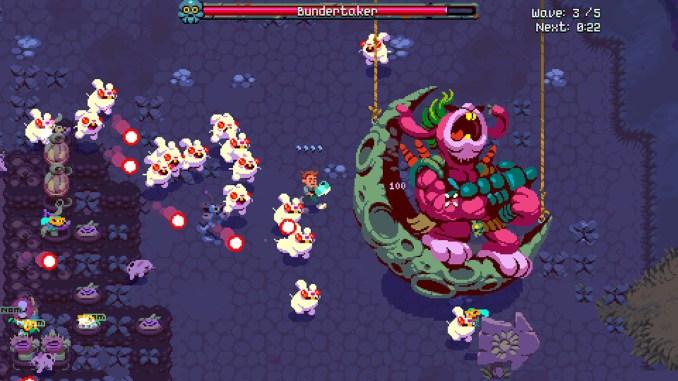 """Das Bild zeigt eine Farm aus dem Spiel """"Atomicorps"""". Ein riesiger Hase sitzt auf einem halben Mond und hat jede Menge seiner Kinder dabei."""