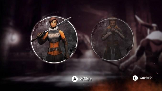 Das Bild zeigt den Bildschirm zur Charakterwahl in Grimvalor