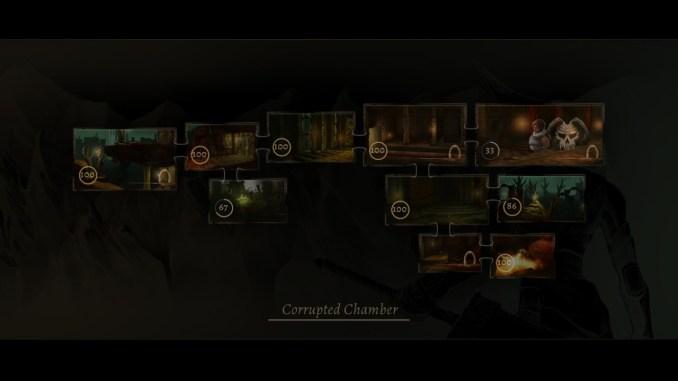 Das Bild zeigt den Stageaufbau von Grimvalor. Die einzelnen Level sind nicht linear angeordnet, sondern es gibt diverse Abzweigungen.