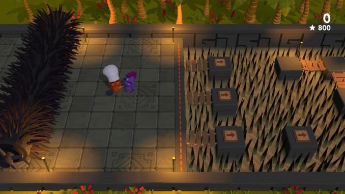 """Das Bild zeigt eine Herausforderung aus dem Spiel """"Cannibal Cuisine"""". Man sieht eine riesige Stachelrolle und einen Weg über ein Stachelmeer."""