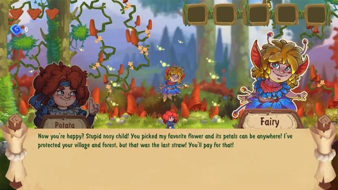 """Das Bild zeigt eine Szene aus dem Spiel """"Potata: Fairy Flower"""". Man sieht die Protagonistin Potata im Gespräch mit einer Fee."""