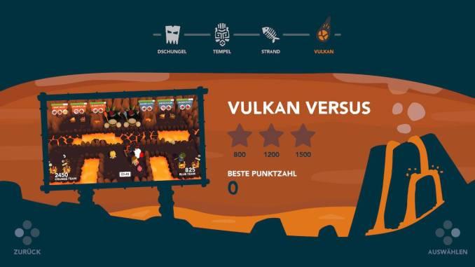 """Das Bild zeigt den Hauptbildschirm des Versus-Modus in """"Cannibal Cuisine"""". Zur Auswahl stehen vier Arenen: Dschungel, Tempel, Strand und Vulkan."""