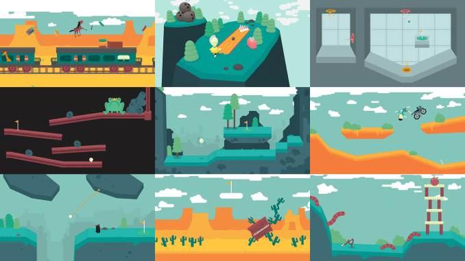 """Das Bild zeigt einige Grüns aus dem Spiel """"WHAT THE GOLF?"""". Neun unterschiedliche Ebenen sind zu sehen."""