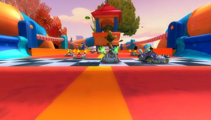 """Das Bild zeigt eine Aufnahme mit mehreren Karts in """"Nickelodeon Kart Racers 2: Grabd Prix""""."""