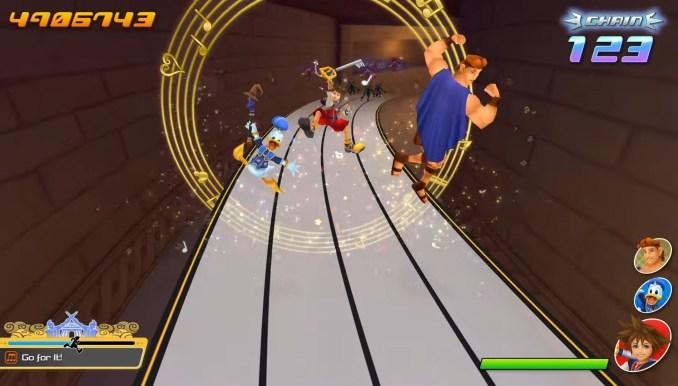 """Das Bild zeigt die hüpfenden Protagonisten in """"Kingdom Hearts: Melody of Memory""""."""