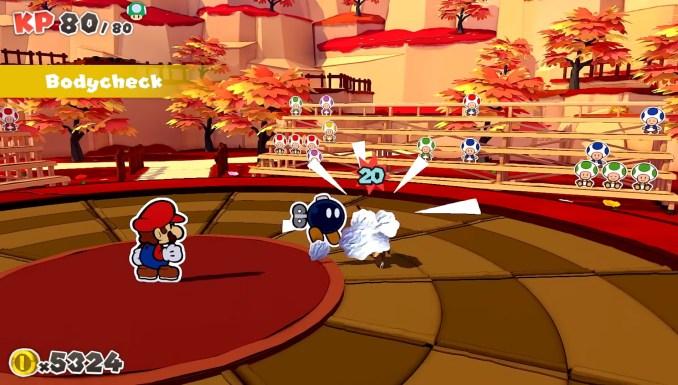 Das Bild zeigt eine Attacke des Gefährten-Bob-Ombs.