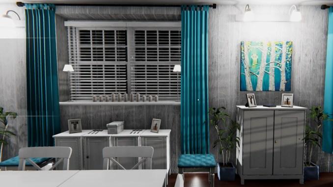 """Das Bild zeigt einen schön eingerichteten Essbereich aus dem Spiel """"House Flipper""""."""