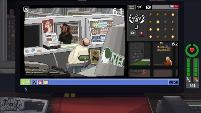 """Das Bild zeigt die virtuelle Oberfläche von """"Do Not Feed the Monkey"""". Man erkennt einen schlafenden Mitarbeiter an einer Kasse."""