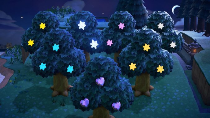 "Das Bild zeigt gehackte Bäume in ""Animal Crossing: New Horizons""."