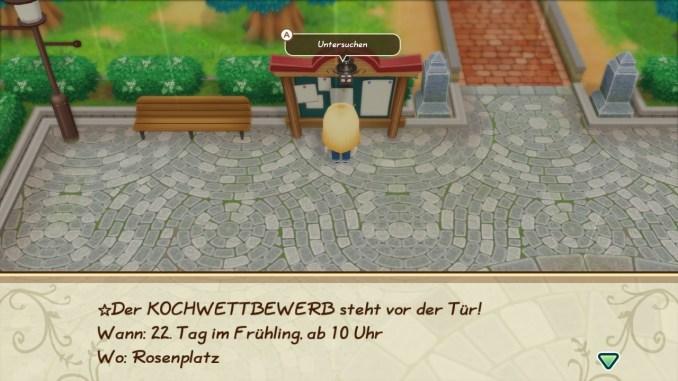 """Das Bild zeigt den Rosenplatz im Spiel """"Story of Seasons: Friends of Mineral Town""""."""