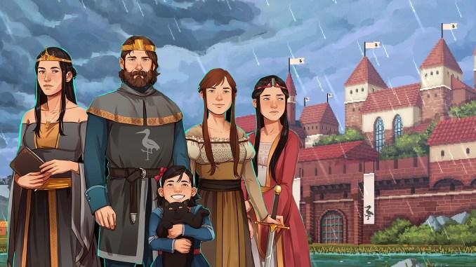 """Das Bild zeigt die königliche Familie aus dem Spiel """"Yes, Your Grace""""."""