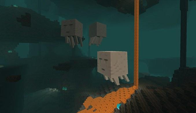 Das Bild zeigt einige Quallen aus dem Nether Update.
