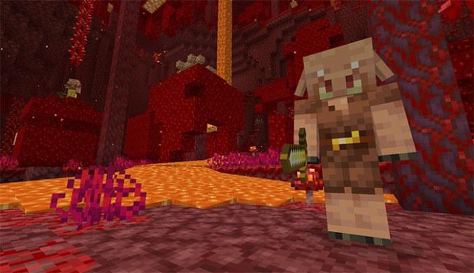 """Das Bild zeigt einen Piglin, eine Kreatur aus dem Nether Update von """"Minecraft""""."""