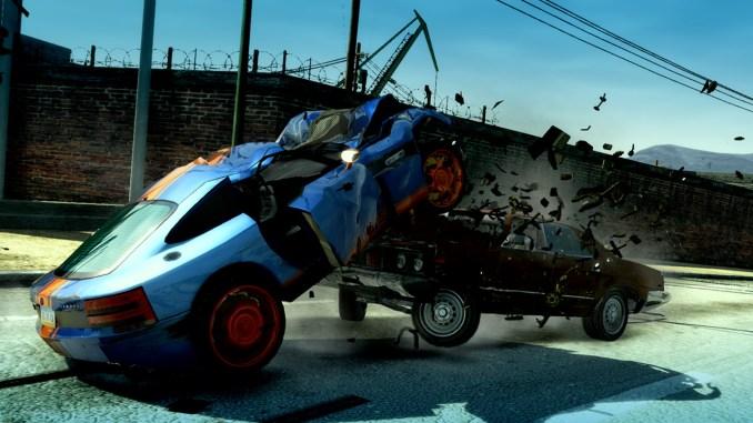 """Das Bild zeigt einen Unfall in dem Spiel """"Burnout Paradise Remastered""""."""