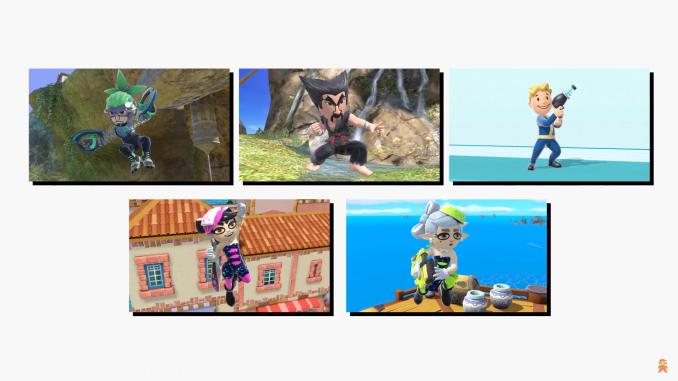 Das Bild zeigt eine Collage aus allen fünf Mii-Kostümen.