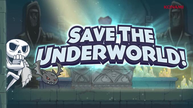 """Das Bild zeigt einen Screenshot zu """"Skelattack"""". Dort steht unsere Hauptaufgabe drauf: """"Save the Underworld""""."""