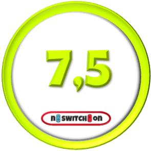 """Das Bild zeigt die Wertung 7,5 von 10 an für """"Super Mario 3D All-Stars""""."""