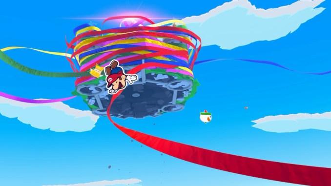 Das Bild zeigt das von bunten Bändern eingehüllte Schloss von Peach in der Luft. Mario und Olivia fallen hinab.