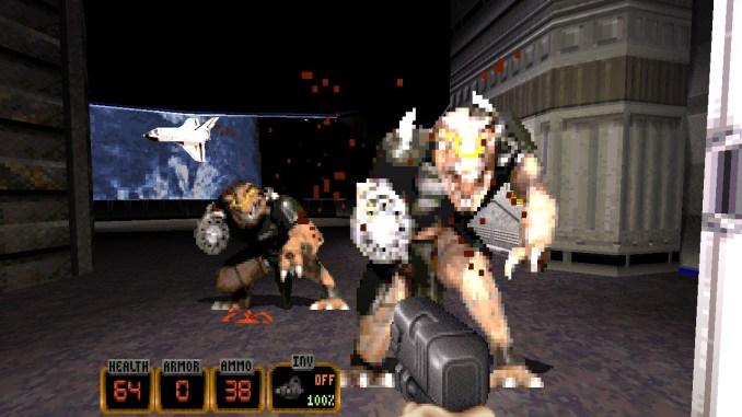 """Das Bild zeigt ein Schussgefecht mit zwei feindlich gesinnten Aliens aus dem Spiel """"Duke Nukem: 20th Anniversary World Tour""""."""