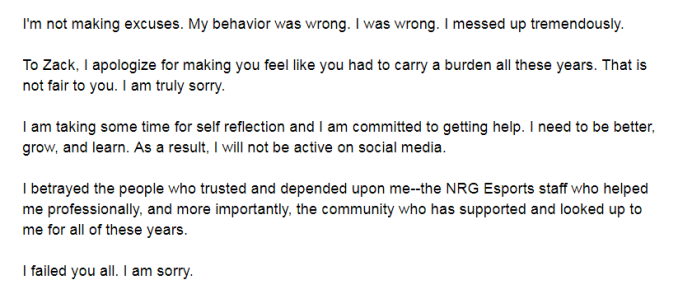 """Das Bild zeigt die Stellungnahme zum Missbrauch von Profi-Gamer """"Nairo""""."""