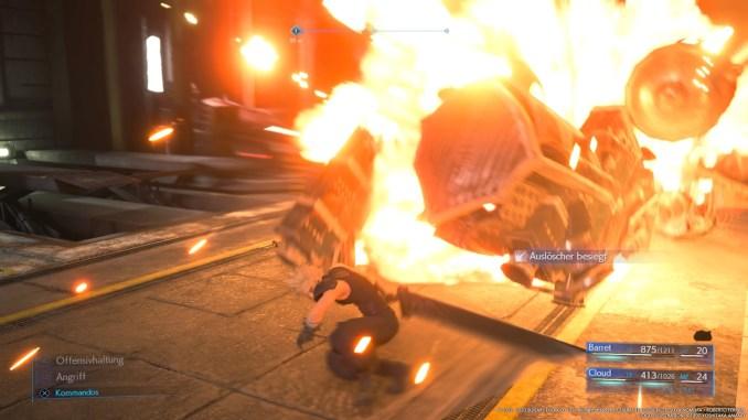 """Das Bild zeigt einen zerstörten Auslöscher im Kampf in """"Final Fantasy VII Remake""""."""