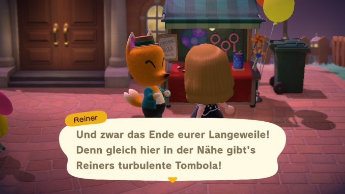 """Das Bild zeigt Reiners Tombola während des Feuerwerks in """"Animal Crossing: New Horizons""""."""