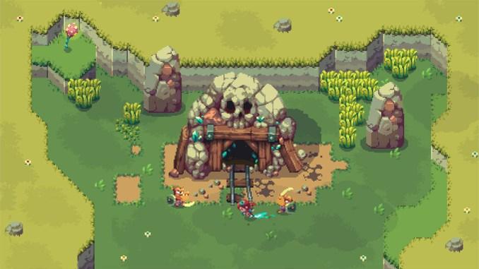 """Das Bild zeigt einen Dungeon in dem Spiel """"Sparklite"""". Es handelt sich um eine Spieleidee für Jung und Alt."""