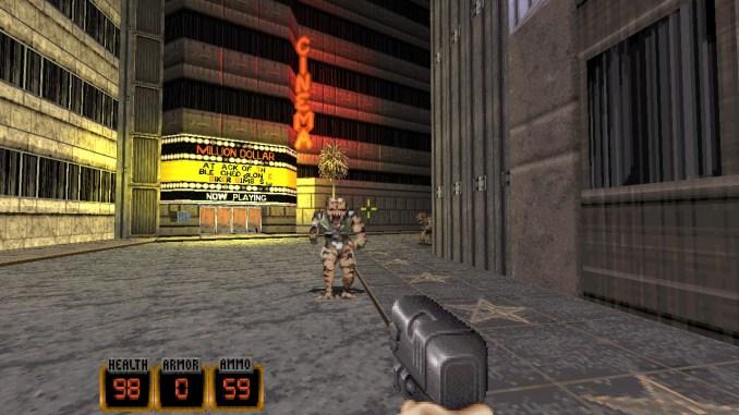 """Das Bild zeigt das erste Level """"Hollywood Holocaust"""" aus dem Spiel """"Duke Nukem: 20th Anniversary World Tour""""."""