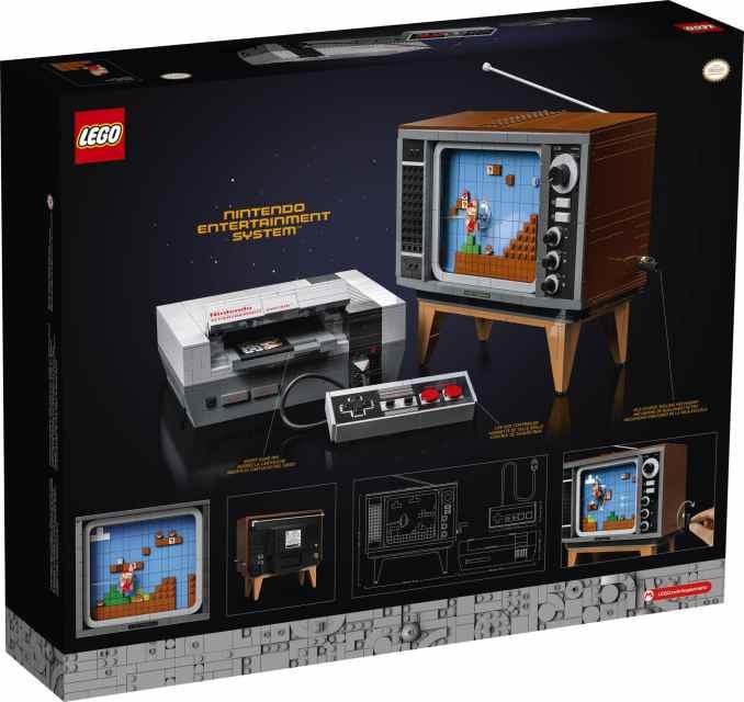 Das Bild zeigt die Verpackung des LEGO Nintendo Entertainment Systems.
