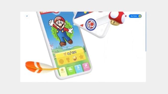 Das Bild zeigt einen Ausschnitt zur App für Super Nintendo World.