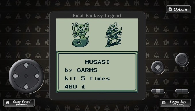Das Bild zeigt den GameBoy Modus von COLLECTION of SaGa FINAL FANTASY LEGEND.
