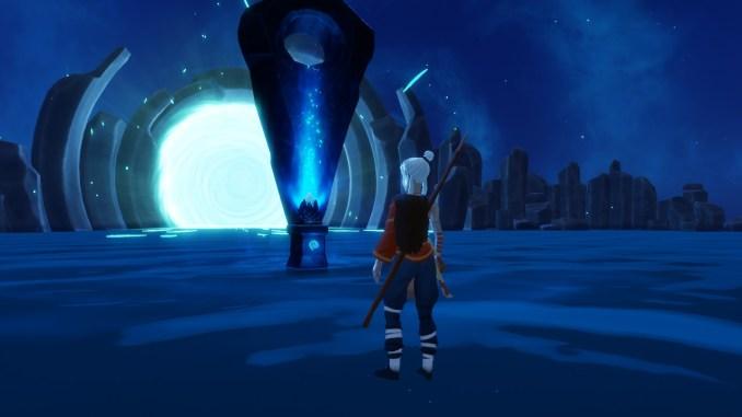 Das Bild zeigt einen Altar aus Windbound, welcher euch eine neue Fähigkeit und etwas zur Story erklärt.
